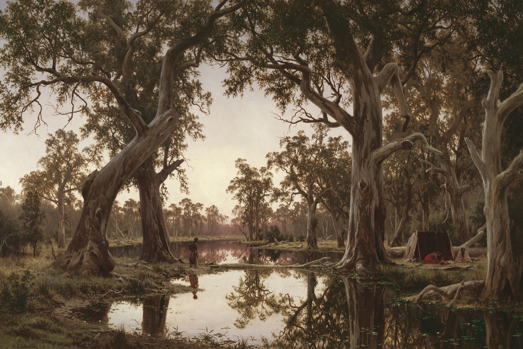 Henry James Johnstone; Evening shadows, backwater of the Murray